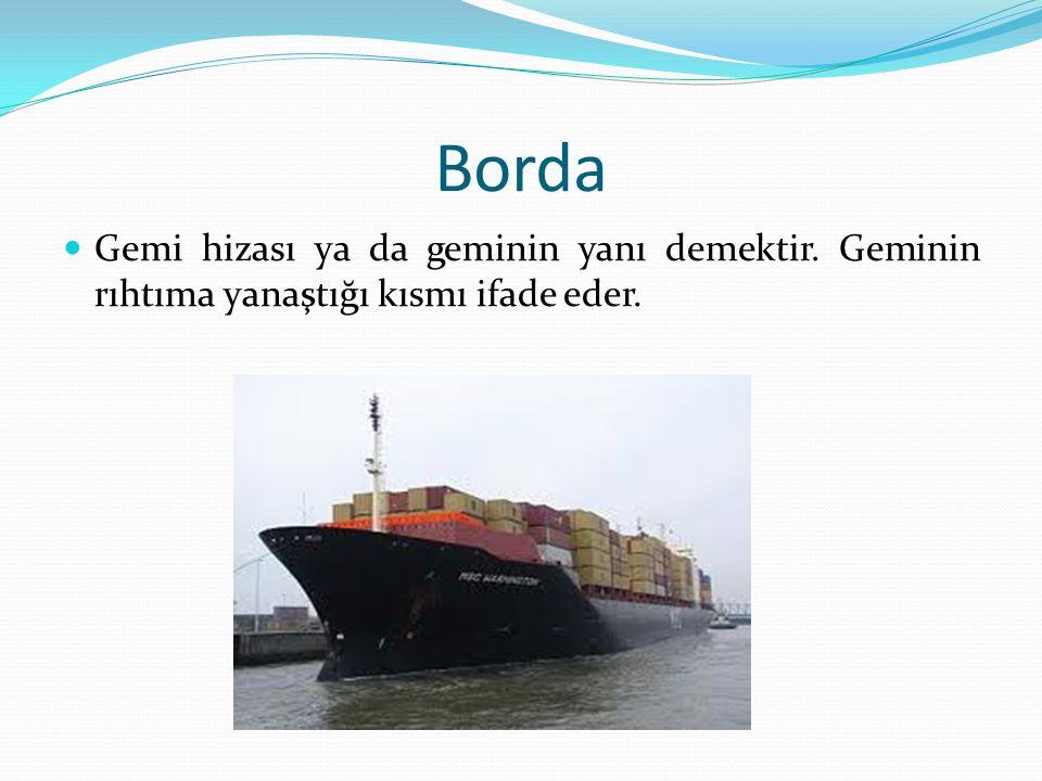 Borda Gemi hizası ya da geminin yanı demektir. Geminin rıhtıma yanaştığı kısmı ifade eder.