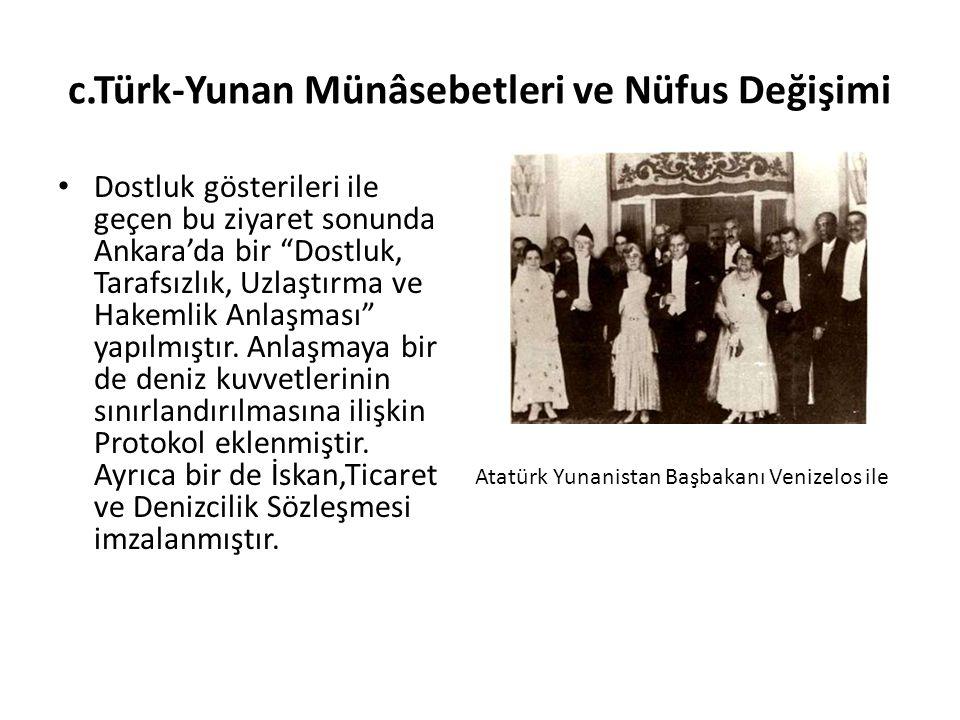 c.Türk-Yunan Münâsebetleri ve Nüfus Değişimi