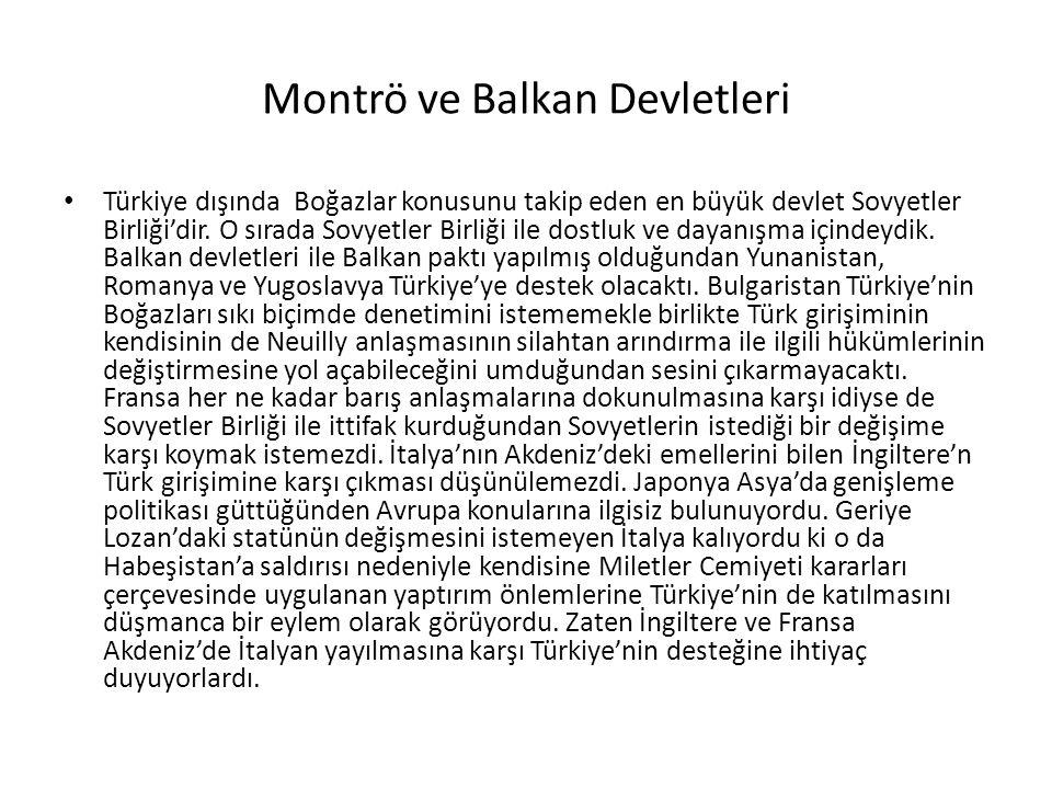 Montrö ve Balkan Devletleri