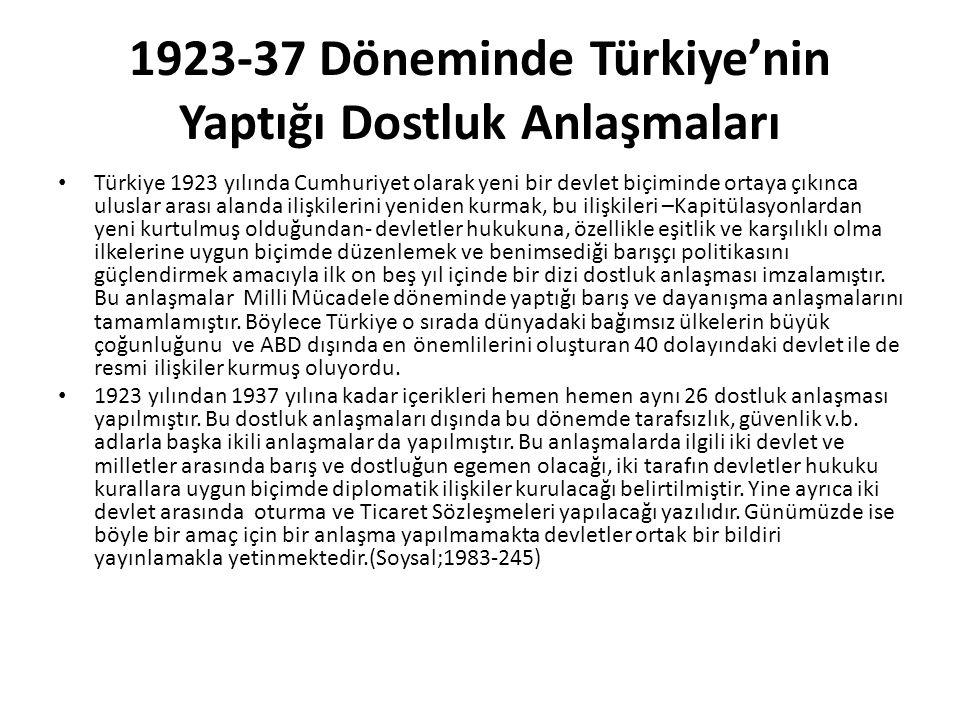 1923-37 Döneminde Türkiye'nin Yaptığı Dostluk Anlaşmaları