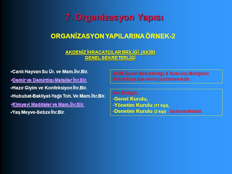 7. Organizasyon Yapısı ORGANİZASYON YAPILARINA ÖRNEK-2 Genel Kurulu,