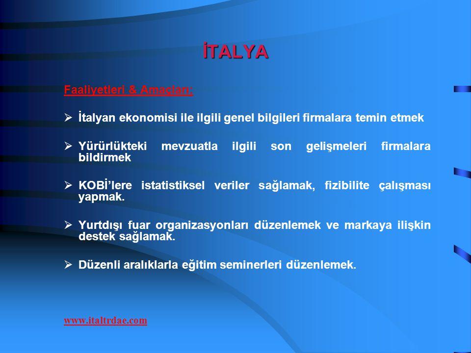 İTALYA Faaliyetleri & Amaçları: