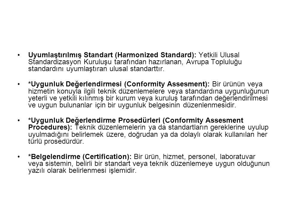 Uyumlaştırılmış Standart (Harmonized Standard): Yetkili Ulusal Standardizasyon Kuruluşu tarafından hazırlanan, Avrupa Topluluğu standardını uyumlaştıran ulusal standarttır.