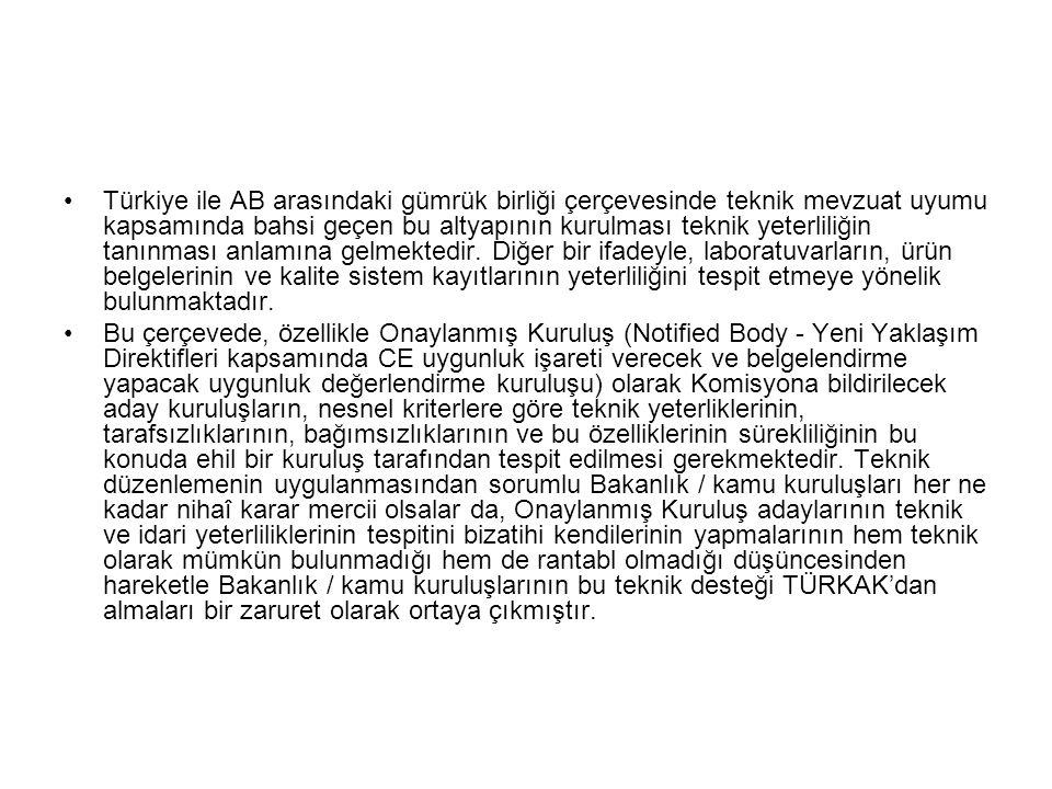 Türkiye ile AB arasındaki gümrük birliği çerçevesinde teknik mevzuat uyumu kapsamında bahsi geçen bu altyapının kurulması teknik yeterliliğin tanınması anlamına gelmektedir. Diğer bir ifadeyle, laboratuvarların, ürün belgelerinin ve kalite sistem kayıtlarının yeterliliğini tespit etmeye yönelik bulunmaktadır.