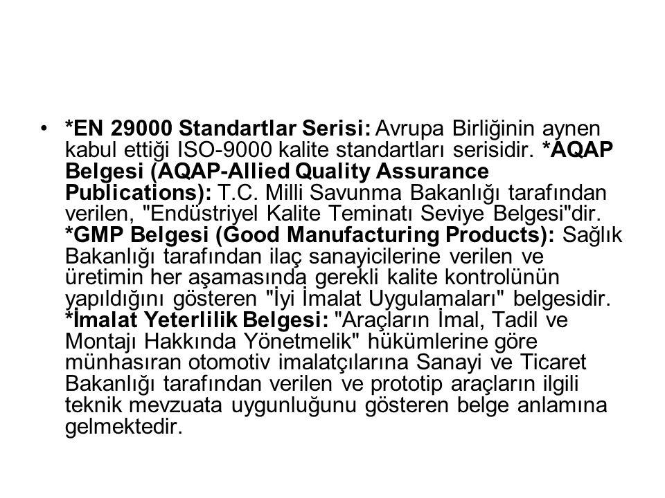 *EN 29000 Standartlar Serisi: Avrupa Birliğinin aynen kabul ettiği ISO-9000 kalite standartları serisidir.
