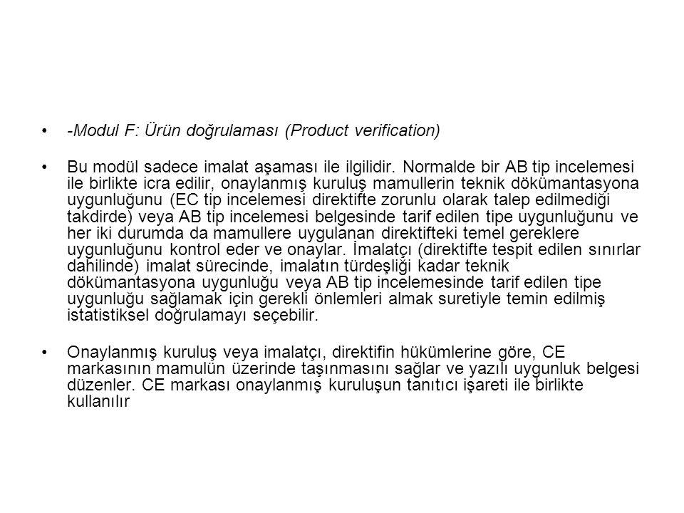 -Modul F: Ürün doğrulaması (Product verification)