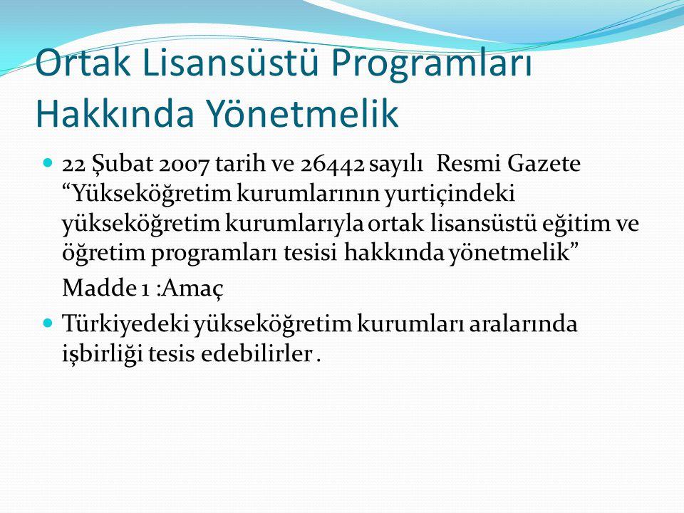 Ortak Lisansüstü Programları Hakkında Yönetmelik