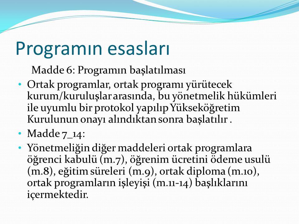 Programın esasları Madde 6: Programın başlatılması