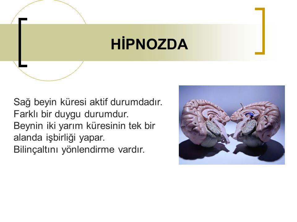 HİPNOZDA Sağ beyin küresi aktif durumdadır. Farklı bir duygu durumdur.
