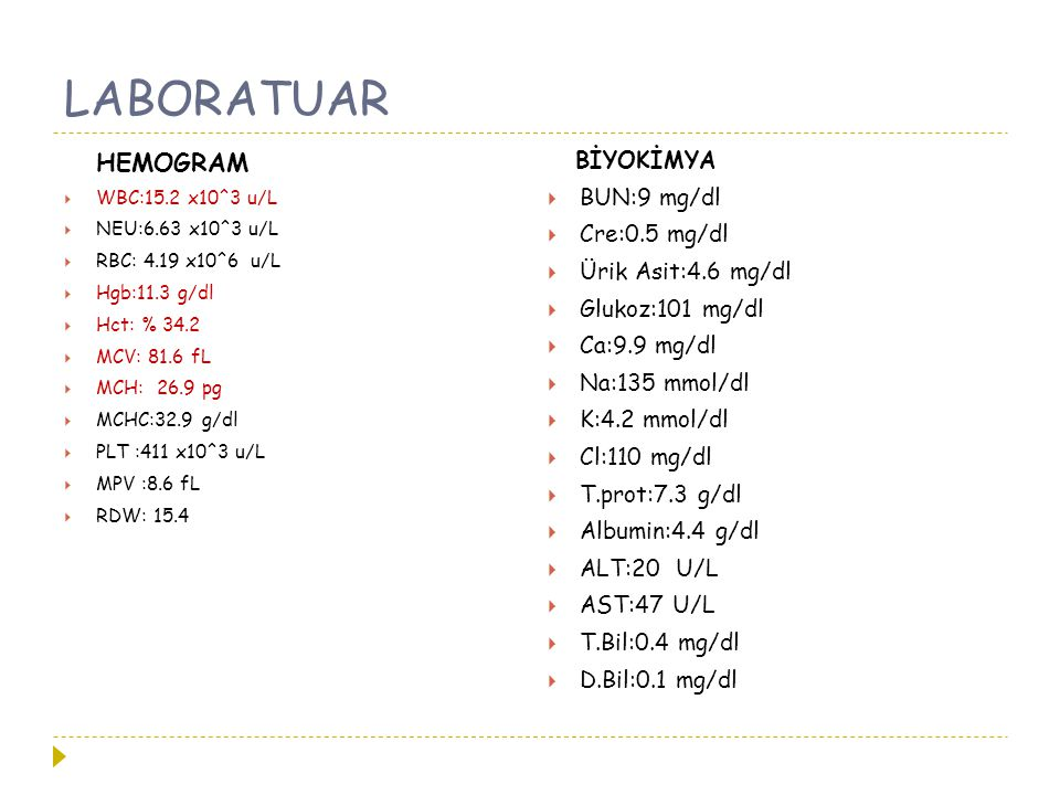 LABORATUAR HEMOGRAM BİYOKİMYA BUN:9 mg/dl Cre:0.5 mg/dl