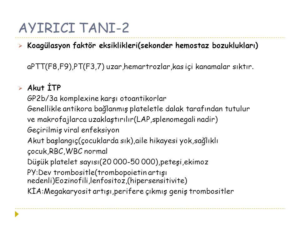 AYIRICI TANI-2 Koagülasyon faktör eksiklikleri(sekonder hemostaz bozuklukları) aPTT(F8,F9),PT(F3,7) uzar,hemartrozlar,kas içi kanamalar sıktır.
