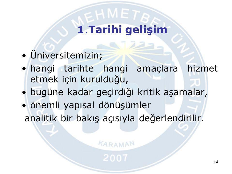 1.Tarihi gelişim Üniversitemizin;