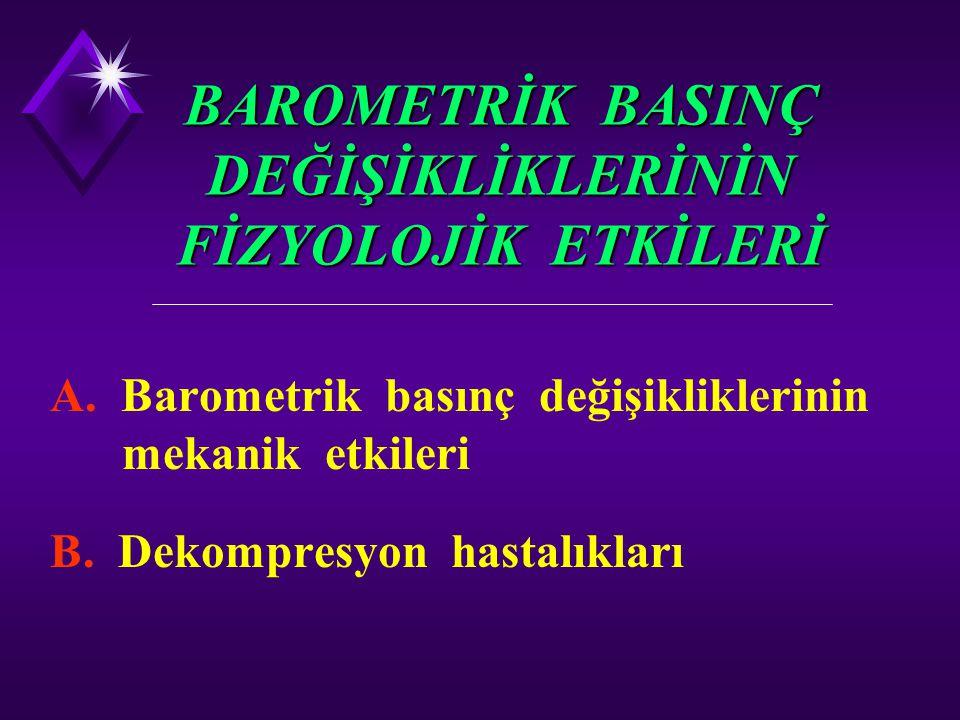 BAROMETRİK BASINÇ DEĞİŞİKLİKLERİNİN FİZYOLOJİK ETKİLERİ