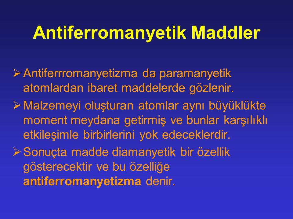 Antiferromanyetik Maddler