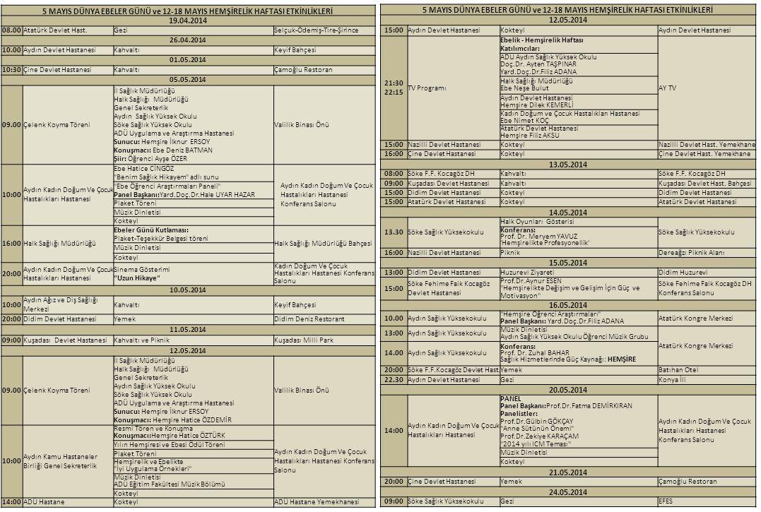 5 MAYIS DÜNYA EBELER GÜNÜ ve 12-18 MAYIS HEMŞİRELİK HAFTASI ETKİNLİKLERİ