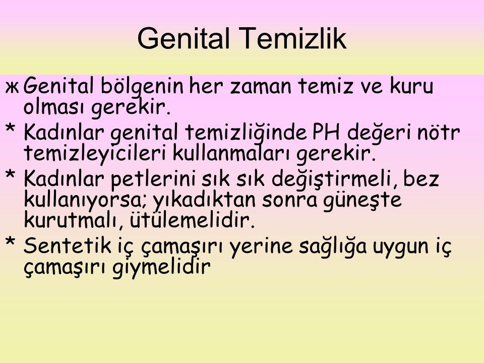 Genital Temizlik Genital bölgenin her zaman temiz ve kuru olması gerekir.