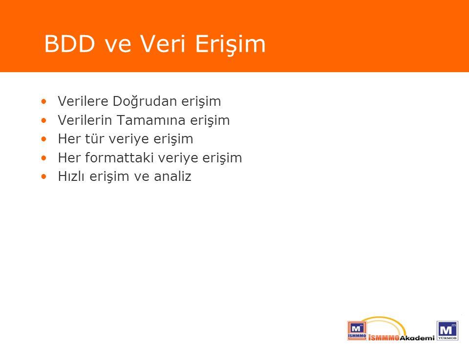 BDD ve Veri Erişim Verilere Doğrudan erişim Verilerin Tamamına erişim