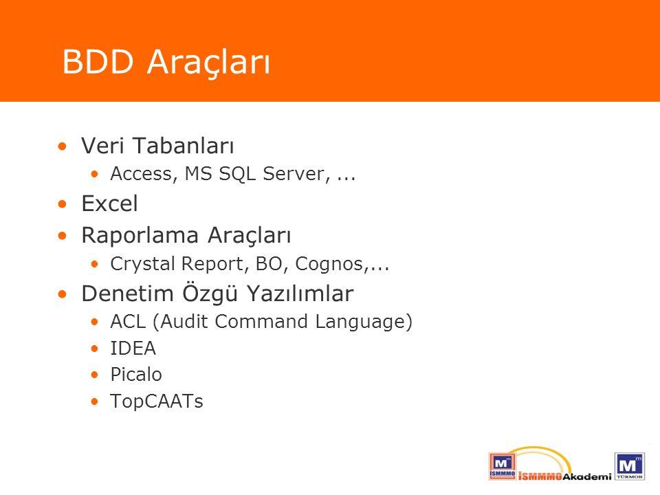 BDD Araçları Veri Tabanları Excel Raporlama Araçları