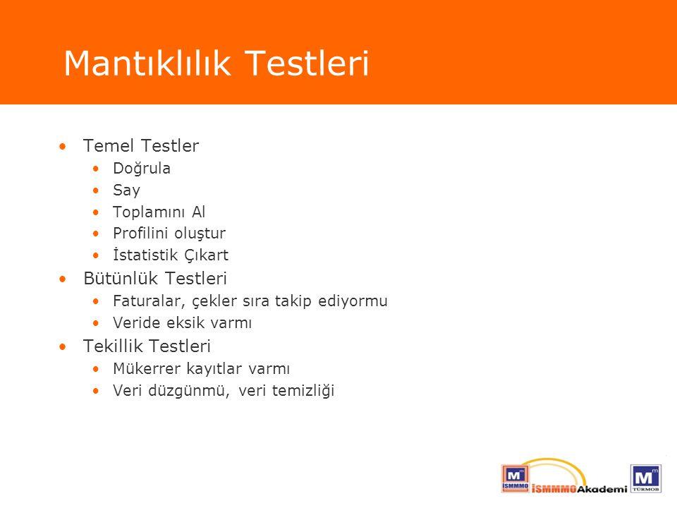 Mantıklılık Testleri Temel Testler Bütünlük Testleri Tekillik Testleri