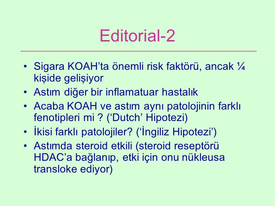 Editorial-2 Sigara KOAH'ta önemli risk faktörü, ancak ¼ kişide gelişiyor. Astım diğer bir inflamatuar hastalık.