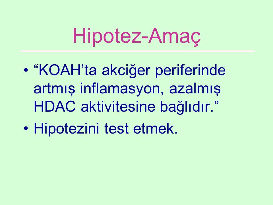 Hipotez-Amaç KOAH'ta akciğer periferinde artmış inflamasyon, azalmış HDAC aktivitesine bağlıdır. Hipotezini test etmek.