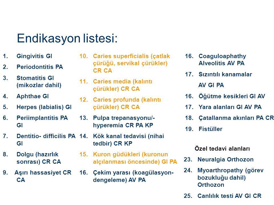 Endikasyon listesi: Gingivitis GI Periodontitis PA
