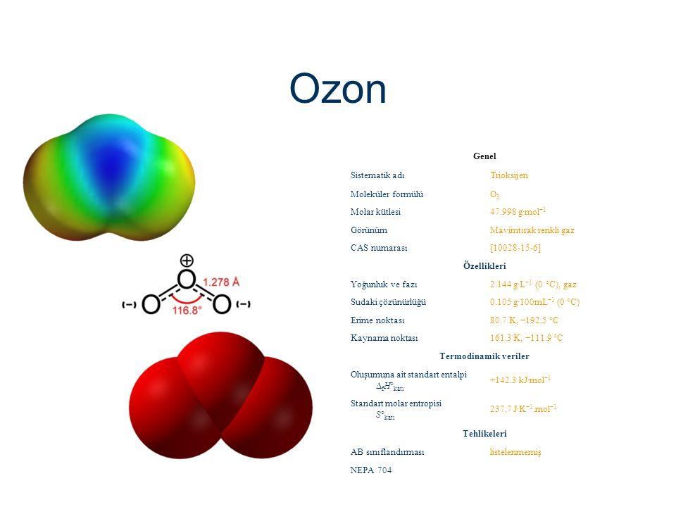 Ozon Genel Sistematik adı Trioksijen Moleküler formülü O3