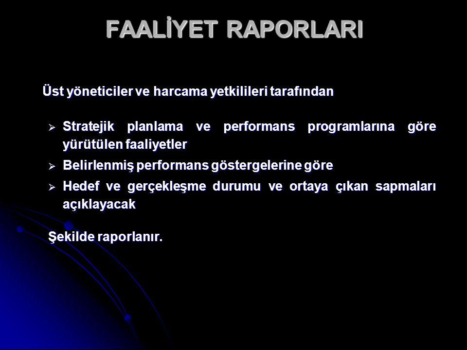 FAALİYET RAPORLARI Üst yöneticiler ve harcama yetkilileri tarafından. Stratejik planlama ve performans programlarına göre yürütülen faaliyetler.