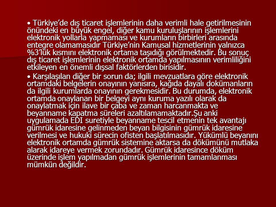 • Türkiye'de dış ticaret işlemlerinin daha verimli hale getirilmesinin önündeki en büyük engel, diğer kamu kuruluşlarının işlemlerini elektronik yollarla yapmaması ve kurumların birbirleri arasında entegre olamamasıdır Türkiye'nin Kamusal hizmetlerinin yalnızca %3'lük kısmını elektronik ortama taşıdığı görülmektedir. Bu sonuç dış ticaret işlemlerinin elektronik ortamda yapılmasının verimliliğini etkileyen en önemli dışsal faktörlerden birisidir.