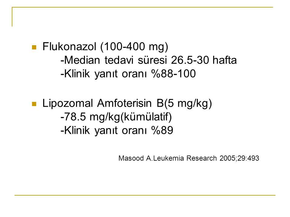 Flukonazol (100-400 mg). -Median tedavi süresi 26. 5-30 hafta