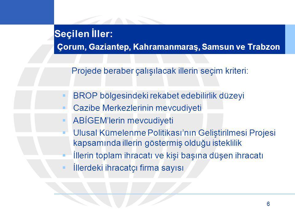 Seçilen İller: Çorum, Gaziantep, Kahramanmaraş, Samsun ve Trabzon