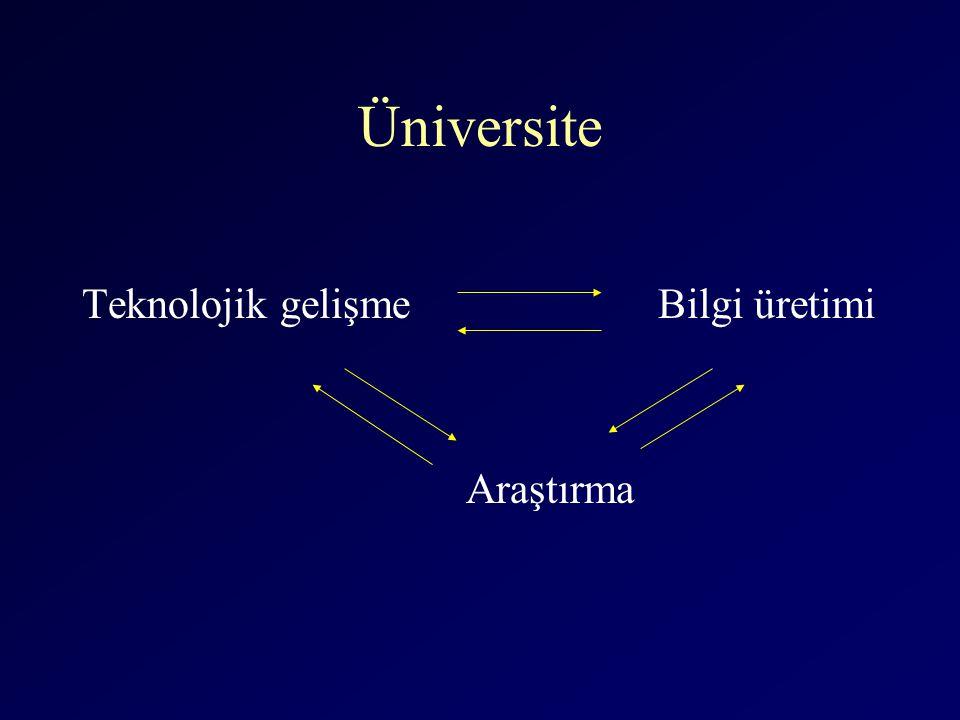 Üniversite Teknolojik gelişme Bilgi üretimi Araştırma