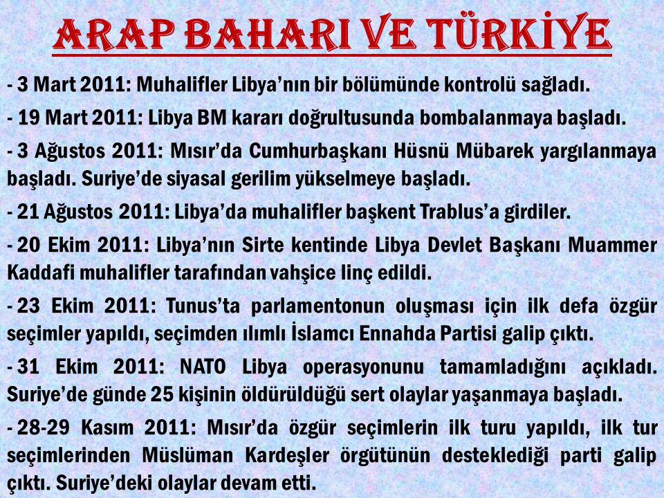 ARAP BAHARI VE TÜRKİYE - 3 Mart 2011: Muhalifler Libya'nın bir bölümünde kontrolü sağladı.