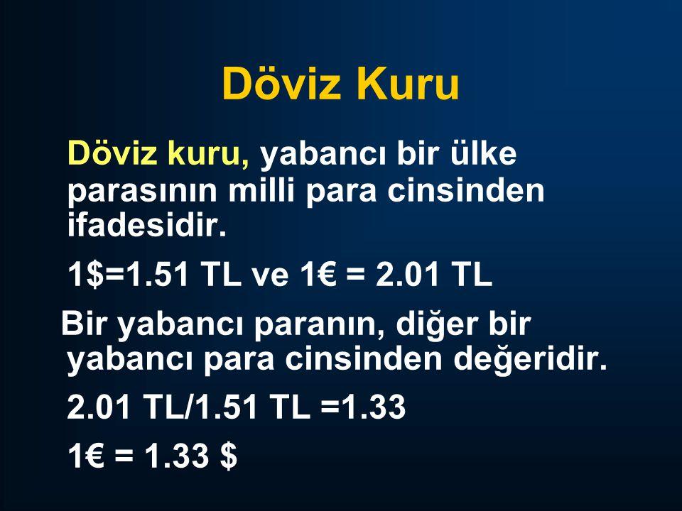 Döviz Kuru Döviz kuru, yabancı bir ülke parasının milli para cinsinden ifadesidir. 1$=1.51 TL ve 1€ = 2.01 TL.