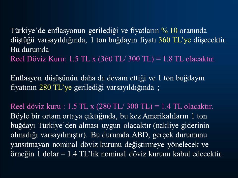 Türkiye'de enflasyonun gerilediği ve fiyatların % 10 oranında düştüğü varsayıldığında, 1 ton buğdayın fiyatı 360 TL'ye düşecektir.