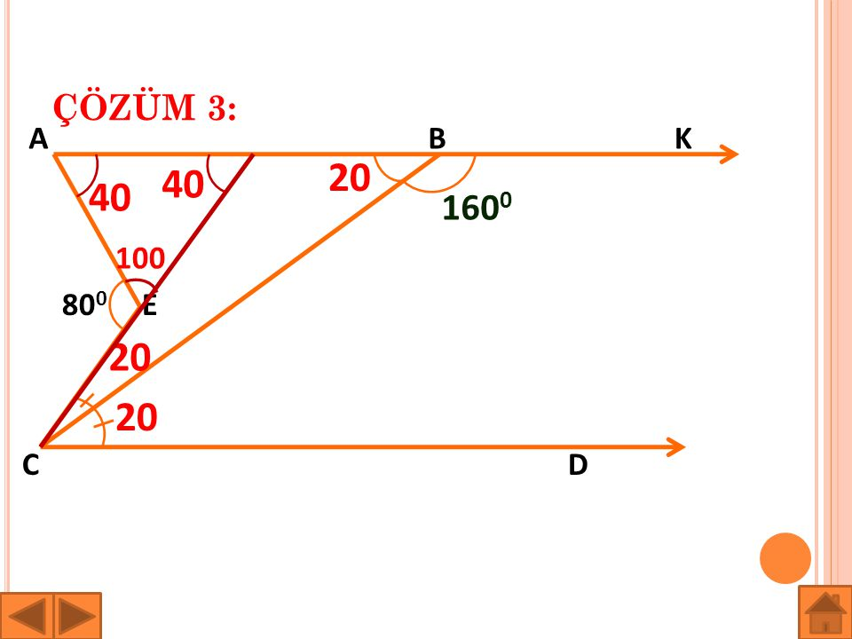 ÇÖZÜM 3: A B K 20 40 40 1600 100 800 E 20 20 C D