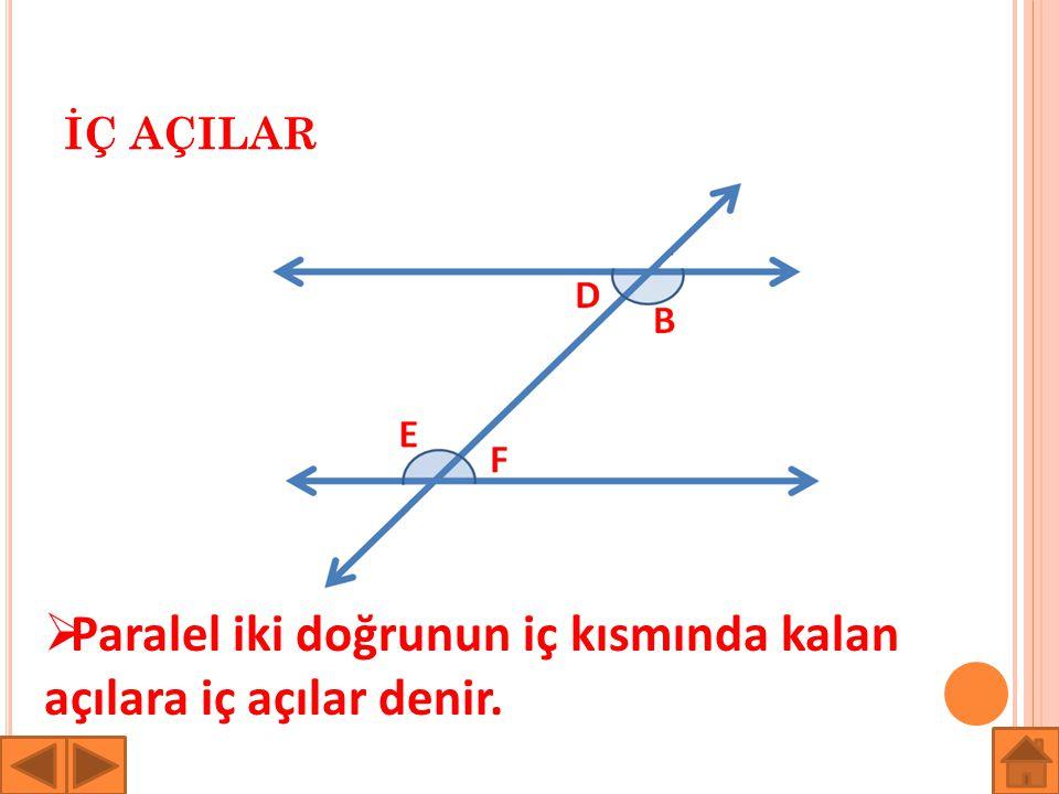 Paralel iki doğrunun iç kısmında kalan açılara iç açılar denir.