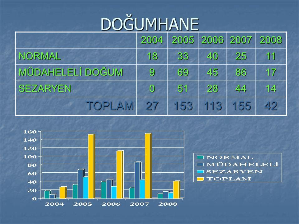 DOĞUMHANE TOPLAM 27 153 113 155 42 2004 2005 2006 2007 2008 NORMAL 18
