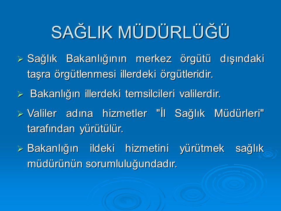 SAĞLIK MÜDÜRLÜĞÜ Sağlık Bakanlığının merkez örgütü dışındaki taşra örgütlenmesi illerdeki örgütleridir.