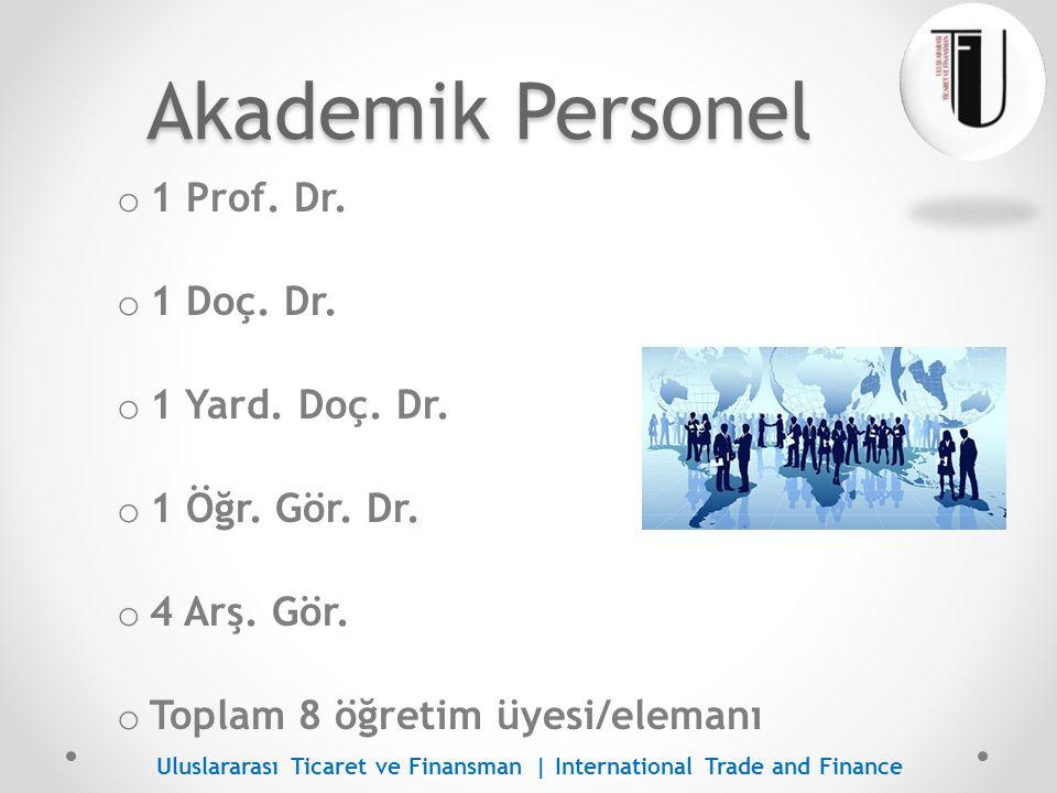 Akademik Personel 1 Prof. Dr. 1 Doç. Dr. 1 Yard. Doç. Dr.