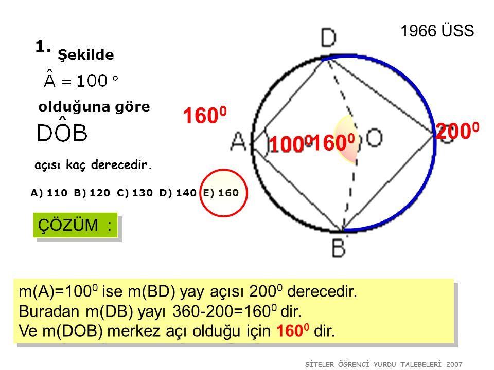1966 ÜSS 1. Şekilde. olduğuna göre. 1600. 2000. 1000. 1600. açısı kaç derecedir. A) 110 B) 120 C) 130 D) 140 E) 160.