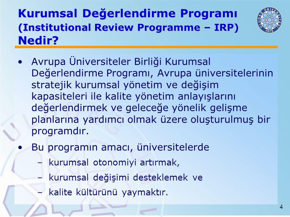 Kurumsal Değerlendirme Programı (Institutional Review Programme – IRP) Nedir