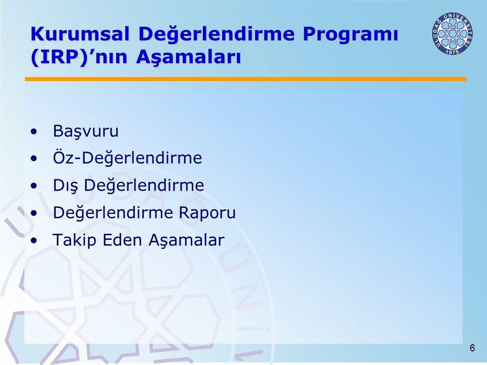 Kurumsal Değerlendirme Programı (IRP)'nın Aşamaları