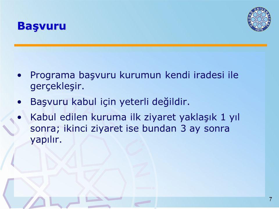Başvuru Programa başvuru kurumun kendi iradesi ile gerçekleşir.