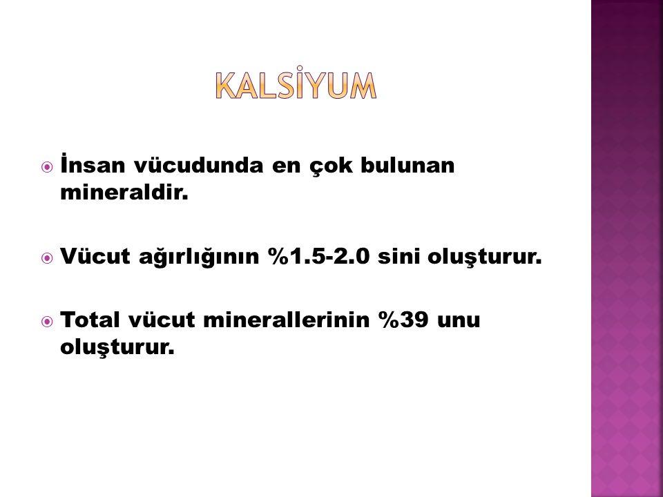 KALSİYUM İnsan vücudunda en çok bulunan mineraldir.