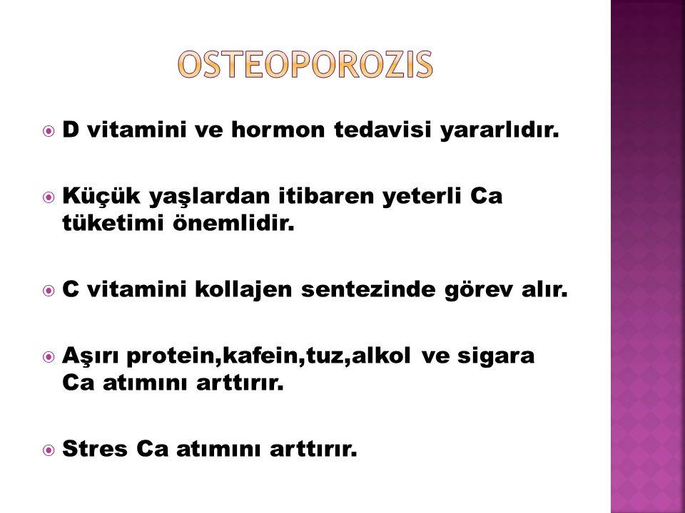 osteoporozis D vitamini ve hormon tedavisi yararlıdır.
