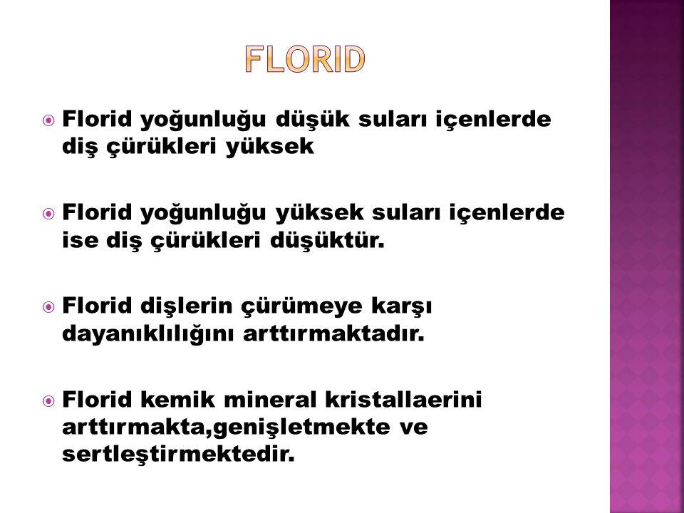 florid Florid yoğunluğu düşük suları içenlerde diş çürükleri yüksek