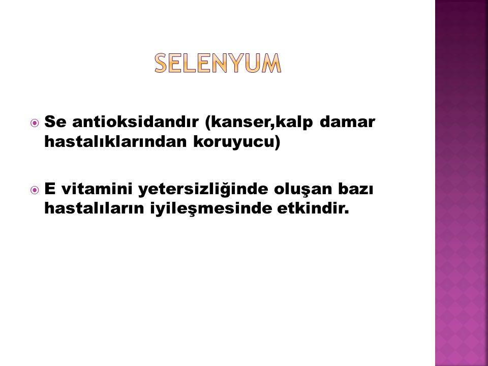 selenyum Se antioksidandır (kanser,kalp damar hastalıklarından koruyucu)