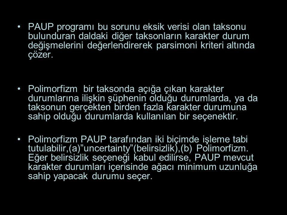 PAUP programı bu sorunu eksik verisi olan taksonu bulunduran daldaki diğer taksonların karakter durum değişmelerini değerlendirerek parsimoni kriteri altında çözer.