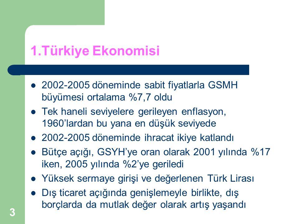 1.Türkiye Ekonomisi 2002-2005 döneminde sabit fiyatlarla GSMH büyümesi ortalama %7,7 oldu.